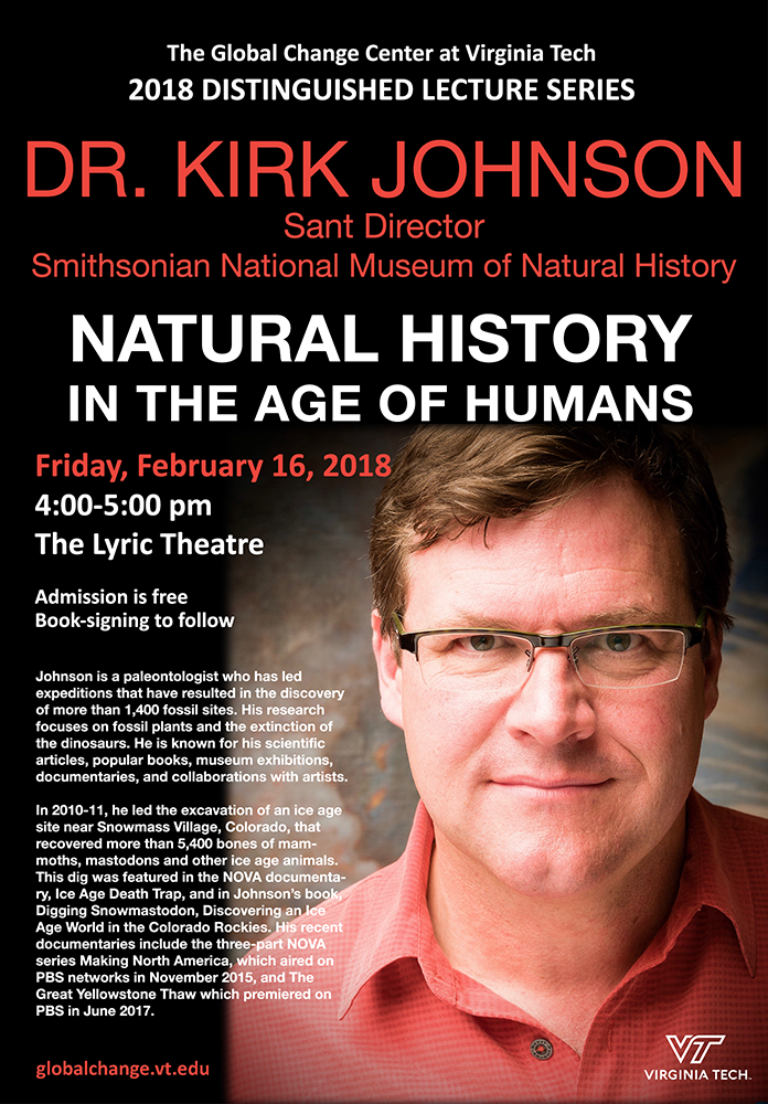 Distinguished Lecture Series: Dr. Kirk Johnson, Director of the Smithsonian National Museum of Natural History